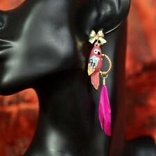Boucles d`Oreilles Parroquet Plume Violet Noeud Papillon Mariage Cadeau EE 4