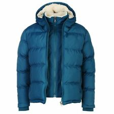 """Mens SoulCal Two Zip Jacket Padded Hood Fleece Lined Blue Size XL 48"""" Chest"""