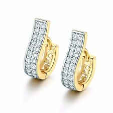 Vogue 18K gold Platinum filled two-row white Simulated Diamond hoop earring