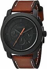 NWT Fossil FS5234 Men's Machine Brown Leather Black Dial Chronograph Watch 45mm