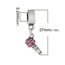 """Microphone with Colored Crystals"" Charm Bead  for Most European Sn..."