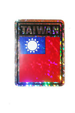 TAIWAN COUNTRY FLAG  METALLIC BUMPER STICKER DECAL .. 4 X 3 INCH