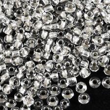 Perles de Rocailles en verre 2mm Trou Argenté Cristal 20g (12/0)