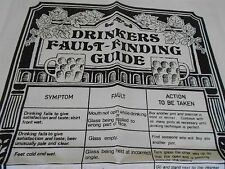 Vintage Teatowel 'Drinkers Fault-Finding Guide'  Pure Irish Linen by Ulster