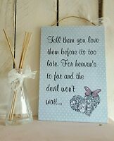 """Handmade """"Love"""" Blue Rectangle Gift Plaque Heaven Quote Saying Friend Relative"""