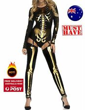 Adult Woman Metallic Gold Skeleton Bone Party Fancy Halloween Costume Top socks