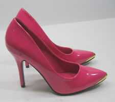 "Hot Pink /Gold tip  4""Stiletto  high heel pointy toe  sexy shoes Size 7"