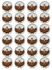 X24 CARTOON EAGLE FACE CUP CAKE TOPPERS DECORATIONS ON EDIBLE RICE PAPER