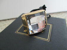 NWT Auth Balmain H&M Gold Tone Large Clear Faceted Glass Stone Cocktail Ring M/L