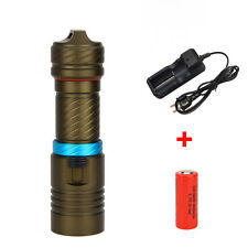 6000LM CREE XM-L2 LED Scuba Diving Flashlight Torch 26650 Light LAMP Underwater