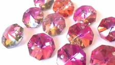 50 Rose Rainbow Chandelier Crystal Beads Octagon Prisms Suncatcher Octagons
