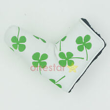 Shamrock Clover Golf Putter Club Cover Headcover for Scotty Cameron Ping (White)