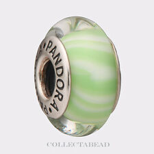 Authentic Pandora Silver Murano Light Green Candy Stripes Bead 790685 *RETIRED*