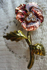 VINTAGE STYLE ENAMEL PANSY FLOWER RUSTY BROWN CRYSTAL PIN BROOCH COSTUME JEWELRY