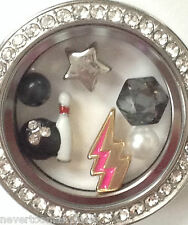 AUTHENTIC ORIGAMI OWL BOWLING ~ LOCKET & CHARMS ~ BALL PIN STRIKE! CRYSTAL PEARL