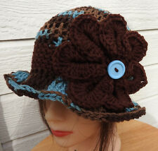 Brown Blue SPRING WINTER  CLOCHE BEANIE CAP FLAPPER HAT  HAND CROCHET new