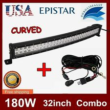 32inch 180w CURVED LED WORK LIGHT BAR FLOODSPOT TRUCK SUV WRANGLER JEEP 30/33/34