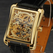 Fashion Rectangle Sided Skeleton Design Leather Band Mechanical Mens Watch Reloj