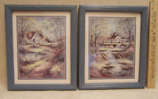 FRAMED BJORKLAND PICTURE PRINT WATERWHEEL &  SWAN MATTED LIGHT BLUE LOT OF 2