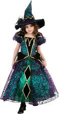 Girls Radiant Witch Costume Fancy Witch Dress & Hat Child Size Medium 8-10