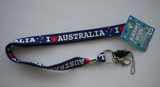 "MOBILE PHONE LANYARD TITLED:""I LOVE  AUSTRALIA "" 45cm LONG, BLUE NEW WITH TAGS"