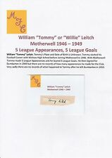 TOMMY LEITCH MOTHERWELL 1946-1949 RARE ORIGINAL HAND SIGNED CUTTING/CARD