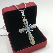 New Unisex's Men Stainless Steel Cross Rudder Pendant Necklace Chain Jewelry