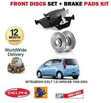 FOR MITSUBISHI COLT 1.6i MIRAGE 1996-2004 FRONT BRAKE DISCS SET + DISC PADS KIT
