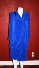 VIRGINIE PARIS CREPE DRESS BLUE  LONG SLEEVE SIZE L