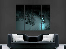 SNOWY TRAIN AT NIGHT IN THE MOUNTAINS ART WALL LARGE IMAGE GIANT POSTER