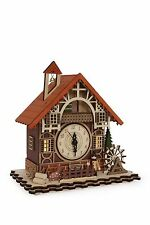 NEW CHRISTMAS ORE WINTER HOUSE CUCKOO CLOCK WOODEN HANDMADE BEAUTIFUL GERMAN