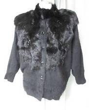 Vtg Black Bat Wing Furry Embellished Angora & Fur Dressy Cardigan Sweater Medium