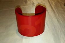 Red lacoste 1212 wide thick  bangle cuff rare bracelet 7 3/8""