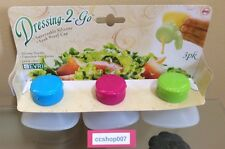 Evriholder 3pk Dressing 2 Go Salad Dressing Container 2 Oz, Blue/Pink/Green New