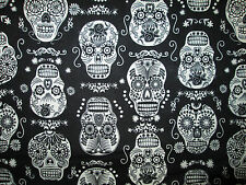SKULLS HEADS GLOW IN DARK FANCY SKULL BLACK COTTON FABRIC FQ