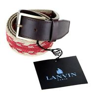 NEW LANVIN MENS LEATHER CANVAS BRADED PIN BUCKLE BELT 90/36
