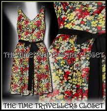 KATE MOSS TOPSHOP RARE FLORAL DITSY 50s ROCKABILLY DRESS RED YELLOW BLUE UK 6 8