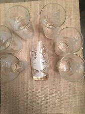 "7- White Christmas Tree Glass Tumblers - 5"" Tall- Vintage"