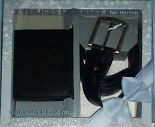 Herren 2 teiliges Leder Set Gürtel 100-50cm 3,8cm + Echtleder Geldbörse schwarz