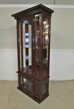 LIGHTED CURIO CABINET, CHINA CLOSET, GLASS SHELVES, ILLUMINATING DISPLAY, MIRROR