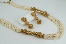 Beautiful Indian Wedding Party Golden Pearl Necklace Set Earring Jewelry