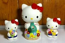 1995 Sanrio Hello Kitty Teapot w/Creamer & Sugar Teapot has 3 chips AS-IS No Box