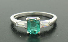 Estate Platinum 1.24ctw Emerald Solitaire & Baguette Diamond Engagement Ring