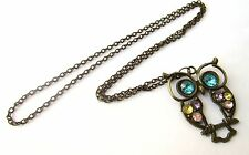 "Vintage Rainbow Rhinestones Bronze Wise Owl 26"" Necklace Brand New UK Seller"