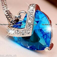925 Sterling Silver Sapphire Blue Heart of the Ocean Necklace Pendant Xmas Gift