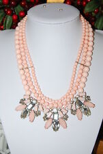 BEAUTIFUL LARGE BIB RUNWAY NECKLACE PINK & CLEAR STONES WITH PINK ACRYLIC BEADS