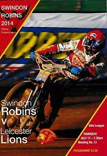 Speedway Programme SWINDON ROBINS v LEICESTER LIONS July 2014