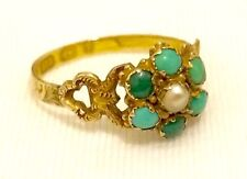 Antique Georgian 1791 Turquoise & Seed Pearl 9ct Gold Lovers Locket Ring ft Hair