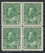 Canada 2c KGV Admiral Block, Scott 107e, F-VF MNH, catalogue - $180