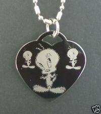 Tweety Looney Tunes Heart Dog Tag Pendant Necklace